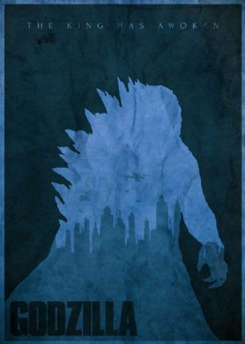 2010's Movie - GODZILLA MINIMAL BLUE canvas print - self adhesive poster - photo print